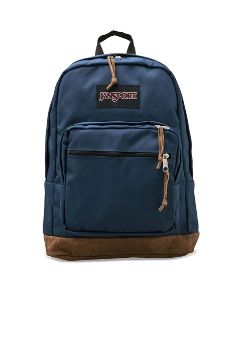 Backpack Blue lyst jansport right pack suede trimmed backpack in blue for