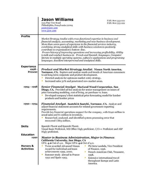 different formats of resumes sle resume 85 free sle resumes by easyjob sle