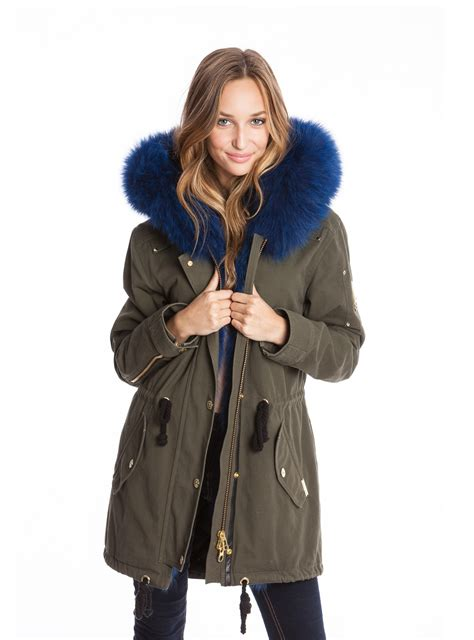 Zurrel Jaket Parka Canvas Premium Green moose knuckle canvas parka w blue fur canadian i