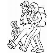Family Hiking Coloring Page  SuperColoringcom