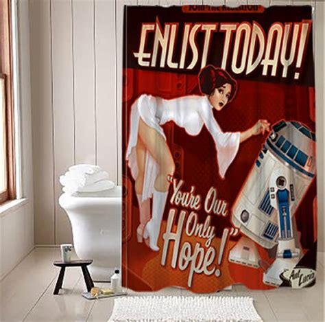sci fi shower curtain star wars propaganda shower curtain technabob