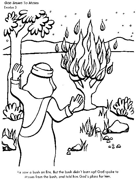 God Speaks To Moses Bible Coloring Page For Kids To Learn Coloring Pages For Preschool Moses And The Burning Bush