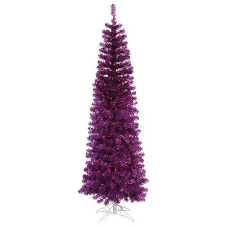 walmart pencil christmas trees artificial 9 pre lit purple artificial pencil tinsel tree purple lights walmart