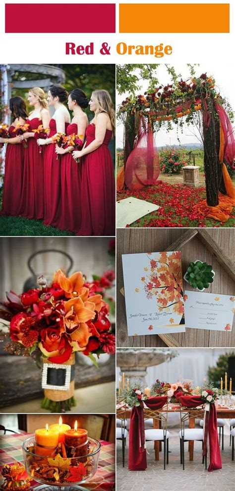 wedding colour themes autumn and winter weddings six classic red fall and winter wedding color palettes
