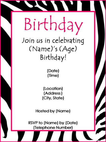 word birthday invitation template birthday invite wording template best template