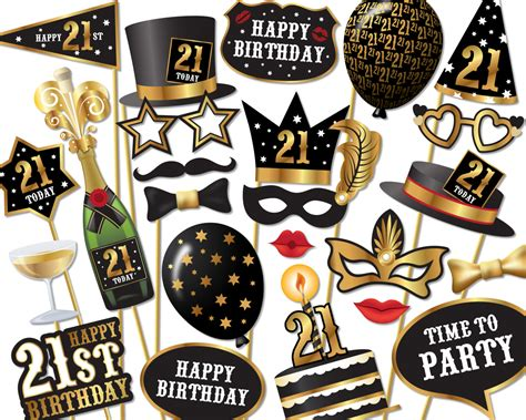 printable photo booth props for 21st birthday 21st birthday photo booth props instant download printable