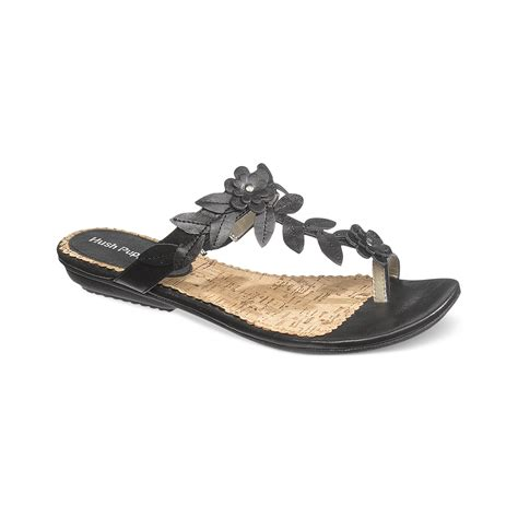 sandals with toe loop hush puppies 174 corsica toe loop flat sandals in black lyst