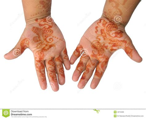 henna tattoo on a little hands royalty free stock