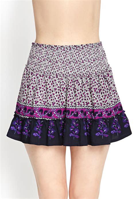 Forever 21 Flower Skirt forever 21 ruffled floral skirt in purple magenta