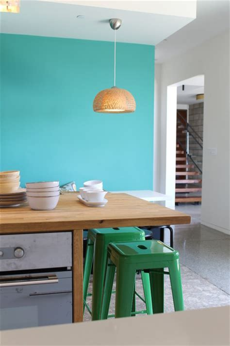 Kelly Green Tolix Bar Stools, Butcher Block Island and