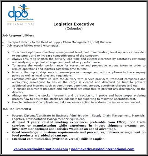 Mba In Supply Chain Management In Sri Lanka by Logistics Executive Vacancy In Sri Lanka