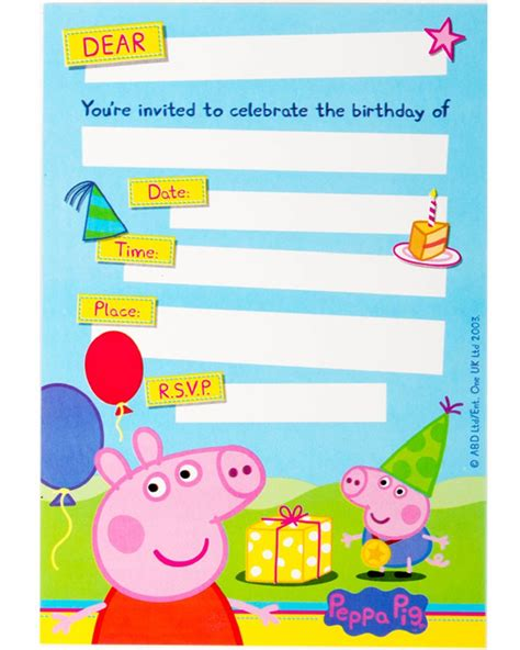 peppa pig invitations template peppa pig invitations pack of 8 supplies