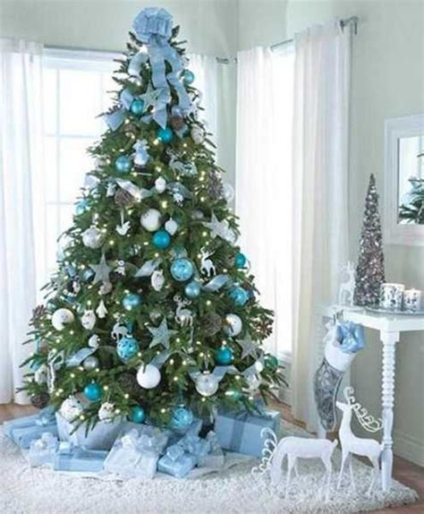 blue and white tree decoration white christmas tree