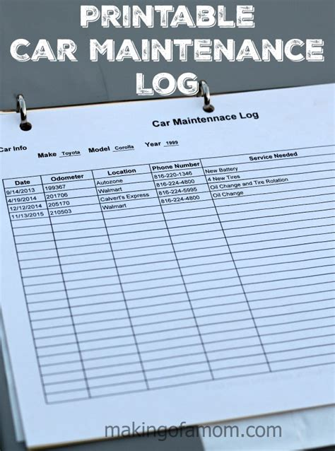 diy car maintenance car maintenance log