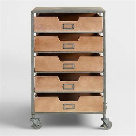 5 Drawer Rolling Storage Cart Wood And Metal 5 Drawer Frederick Rolling Cart World Market