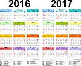 2016 And 2017 Academic Calendar 2016 2017 Calendar Free Printable Two Year Word Calendars