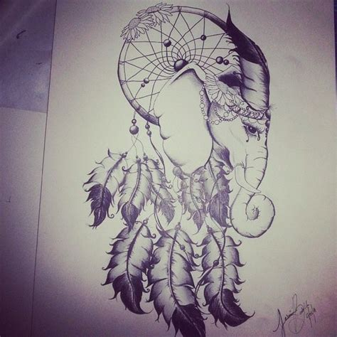 Elephant Tattoo With Dream Catcher | dreams custom tattoo and the feathers on pinterest