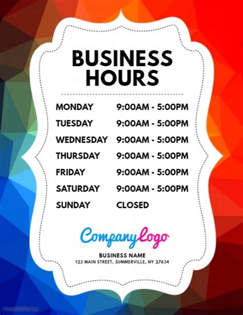 Copy Of Business Hours Flyer Postermywall Trading Hours Template Free