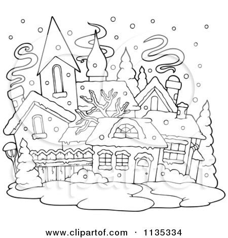 snow village coloring page royalty free stock illustrations of coloring pages by