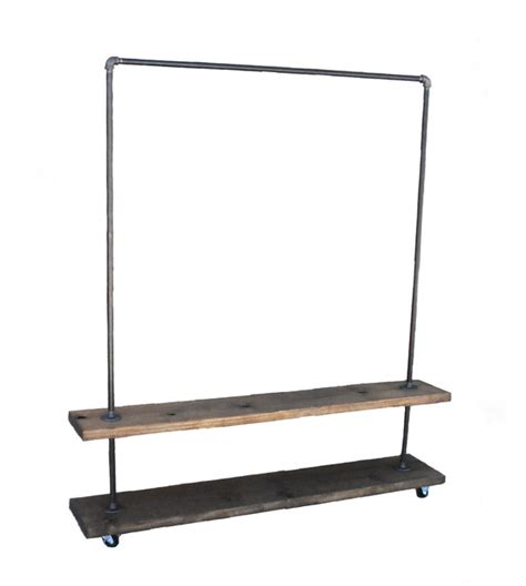 industrial garment clothing rack with bottom shelf
