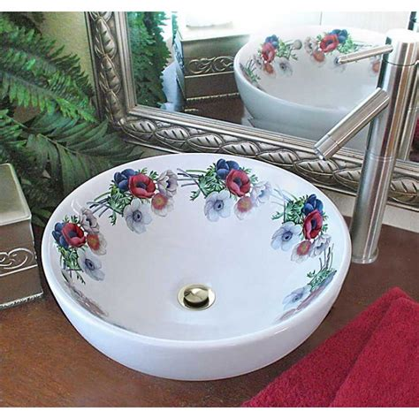 floral bathroom sinks pansy vessel sink