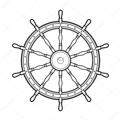 boat steering wheel drawing graphic marine steering wheel stock vector