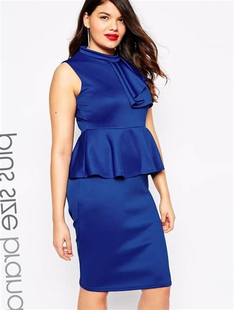 Dress Cestora Scuba peplum dress plus size cheap pluslook eu collection