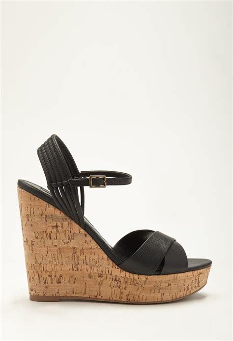 forever 21 sandals forever 21 strappy cork wedge sandals in black lyst