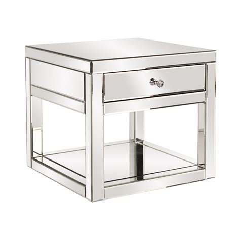 Mirrored Side Table Dillon Mirrored Side Table With Drawer Atg Stores