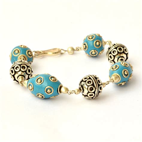 Handmade Braclets - handmade bracelet blue studded with metal