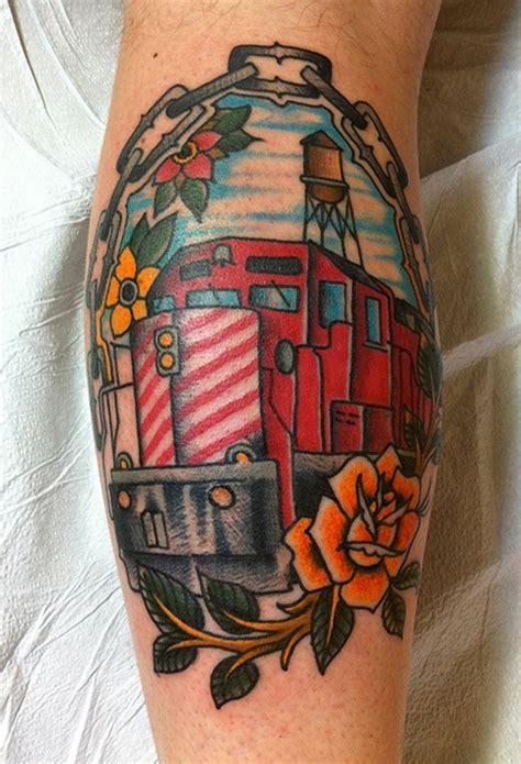 tattoo shops near leeds train station old school style colored leg tattoo of modern big train