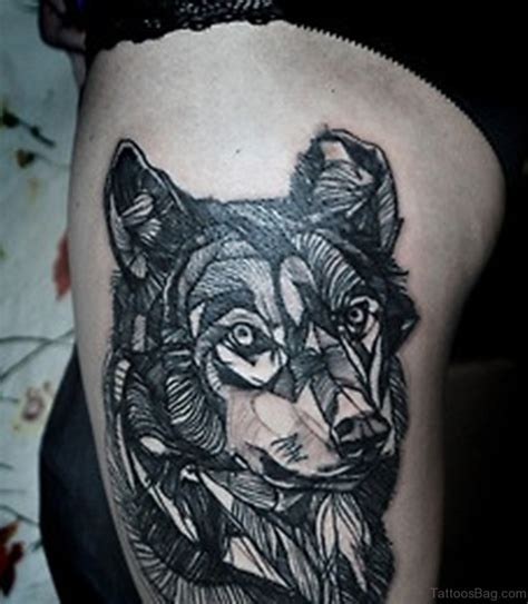 wolf thigh tattoo 70 great looking wolf tattoos on thigh