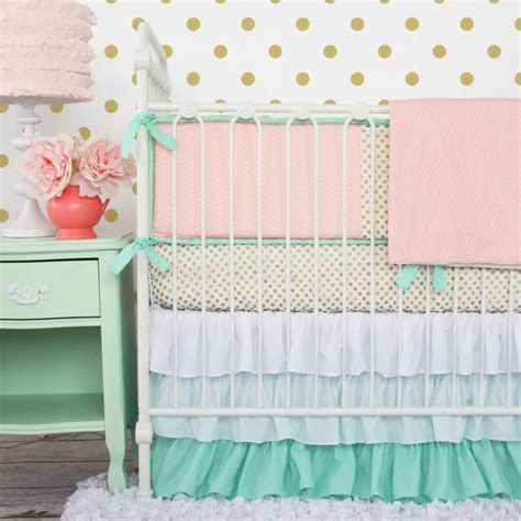 nursery bedding sets for girl serene coral combinations mint grey cream
