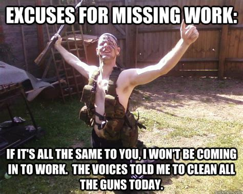 excuses for missing work