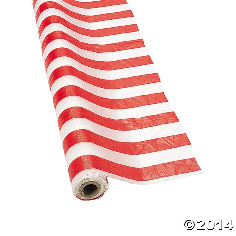 Festival Supplies Striped white striped plastic tablecloth roll 100 ft