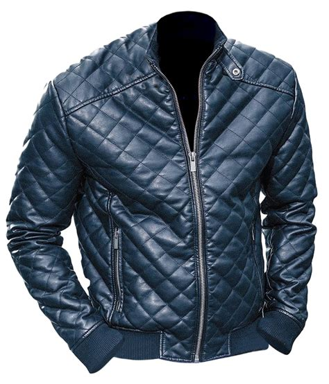 Black Mens Quilted Jacket by Leather Skin Black Quilted Leather Jacket On