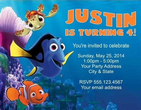 printable nemo birthday invitations cool finding nemo birthday party invitations birthday