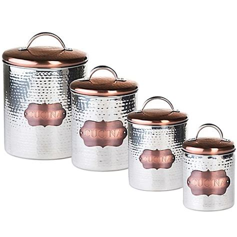 copper canister set kitchen ware hammered cookware food global amici quot cucina quot hammered metal canister bed bath