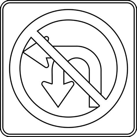 No Outline by No U Turn No Left Turn Outline Clipart Etc