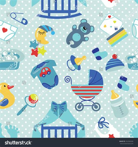 wallpaper cartoon baby boy cute newborn seamless pattern baby boybaby stock