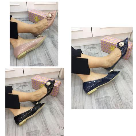 batam branded sepatu burch flat pointed glossy