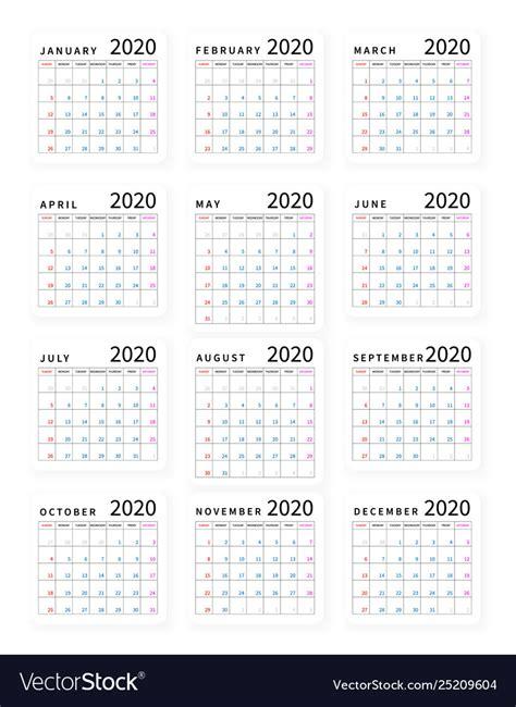 mockup simple calendar layout   year week vector image