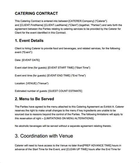 Catering Contract Template Word catering contract templates find word templates