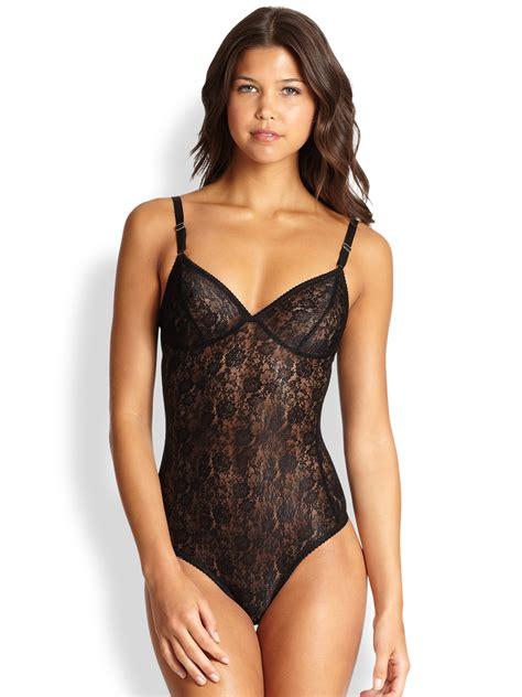 Sheer Lace Bodysuit fortnight mira sheer lace bodysuit in black lyst
