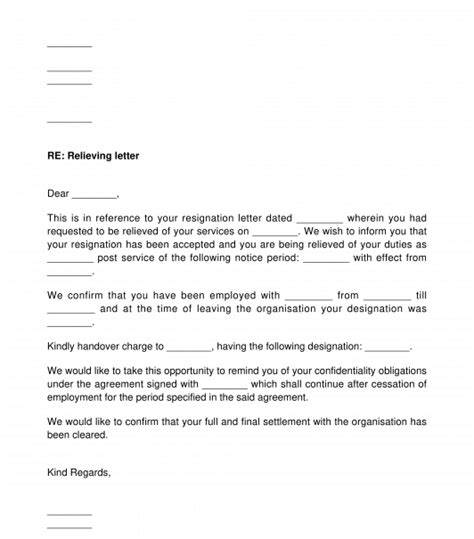 employee relieving letter template word