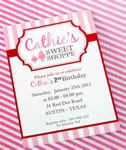 diy printable invitation card sweet shoppe birthday party