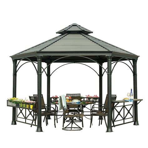 black gazebo sunjoy holden 13 75 ft x 12 ft black top gazebo