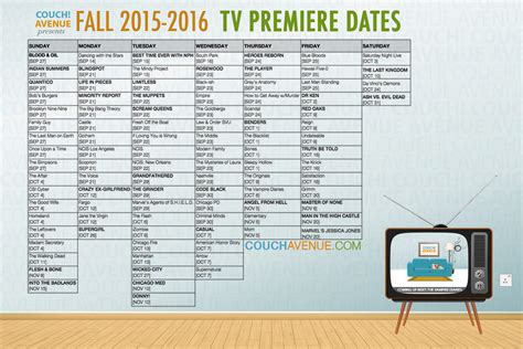 tv list for the 20162017 fall schedule on all networks fall tv 2015 2016 schedule jacqui