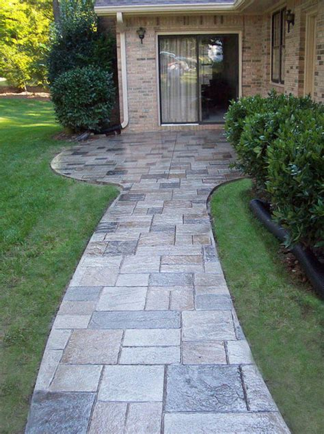 walkway concrete resurfacing traditional landscape