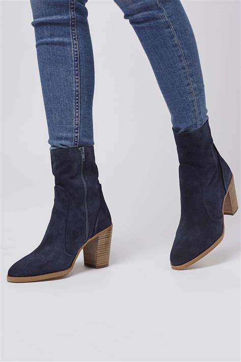 topshop magnificent suede sock boots in blue lyst
